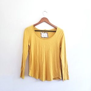 Anthropologie Pure + Good Marigold Yellow Tee Top